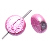 Glass Beads 8mm Round Flat With Hole Metallic Pink
